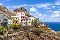 Small iconic mountain village Fontainhas in the mountains of Island Santo Antao, Cape Verde in the equatorial atlantic. April.