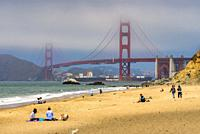 Beneath the Golden Gate Bridge San Francisco California USA World Location.