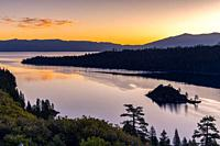 Golden Hour on Emerald Bay Lake Tahoe CA USA.