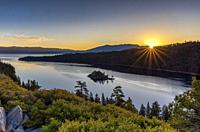 Sunrise over Emerald Bay Lake Tahoe CA USA World Location.