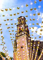 Festivity ornaments outside the church of Valladolid during Revolution Day Memorial, Mexico City, Federal District, Mexico.