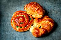 Croissants and conch bun with fruits