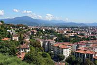 Bergamo lower town seen from Bergamo Alta, Lombardia, Italy, Europe.