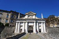 The San Giacomo gate and the Venetian walls, Unesco heritage, Bergamo Alta, Bergamo, Lombardia, Italy, Europe.