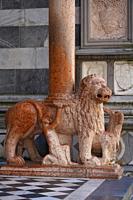 Red Lion on the northern entrance of Santa Maria Maggiore Basilica, Bergamo, Lombardia, Italy, Europe.
