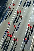 runners, aerial view of the Cursa de la Dona 2019 in Via Laietana, Barcelona, ??Catalonia, Spain