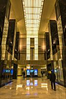 The lobby inside the Chicago Board of Trade Building, an Art Deco skyscraper built in 1930, Chicago, Illinois, USA.