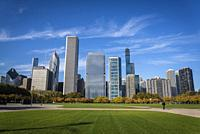 Butler Field and skyline of skyscrapers north the Millennium Park, Chicago, Illinois, USA.
