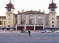 Exterior of Beijing train station - China.