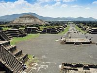 View from the Pyramid of Moon of the 'Avenue of the dead' and the Pyramid of the Sun - Teotihuacan, Mexico.