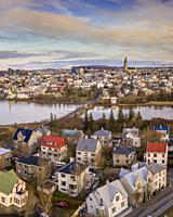 Aerial - Reykjavik in the Autumn, Iceland. This image is shot using a drone.