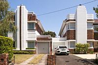Suburban homes in the Streamline Moderne style of the 1940s. Melbourne, Australia.