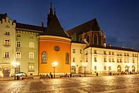 Evening at Little Market Square in Krakow old town, Poland.