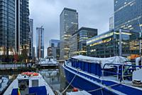 Evening at Canary Wharf in London, England.