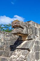 Masonry detail of the Temple of the Jaguar at the Mayan Chichen Itza site on the Yucatan peninsula of Mexico.
