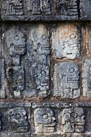 Wall of skulls called the Tzompantli at the Chichen Itza cultural centre on the Yucatan peninsula of Mexico.