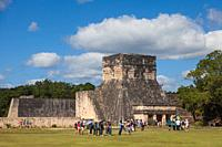 Entrance structure at the Pelota ball court at the Mayan Chichen Itza site in Mexico.
