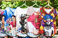 Souvenir marketplace on the grounds of the Chichen Itza cultural site on the Yucatan peninsula of Mexico.