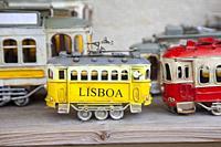 Little Tin Lisboa Trams for Sale in Shop in Sintra, Lisbon, Portugal.