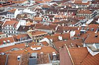 Views of Rooftops from Elevador Castelo in Lisbon, Portugal.