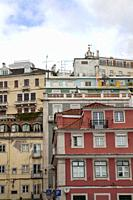 Bright Residential Buildings in LIsbon near Cais do Sodre, Portugal.