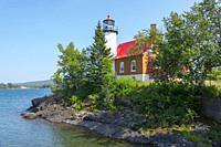 Eagle Harbor lighthousein Eagle Harbor michigan on Keewnaw peninsula on lake superior.
