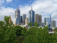 City of Melbourne skyline from the south bank of the Yarra river, Melbourne, Victoria, Australia.