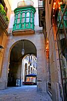 Passage with arcades and green gallery, Plaza Real, Gothic quarter, Barcelona, ??Catalonia, Spain