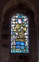 Stained glass depiting a Prophet or Patriarch from the Old Testament, St Catherine church Hoarwithy Herefordshire UK. February 2019.