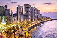 Skyline, View of Corniche, Beirut, Lebanon.