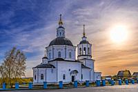 Tomsk Russia - September 22, 2019. Spassky church is a landmark of the old settlement of Spasskoye in the vicinity of Tomsk.