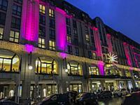 Berlin, Germany, Hilton Hotel, in CIty Center, lit up at Night, on Gendarmenmark Place