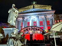 Berlin, Germany, German Cathedral, Monuments lit up at night, Christmas Market, in CIty Center at Night, Gendarmenmark