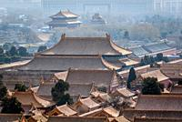 Forbidden City in Beijing, China, view from Jingshan Hill.
