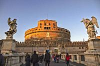 Sant Angelo Castle in Rome during sunset (Italy).
