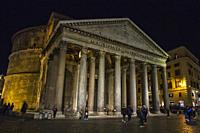 Pantheon of Agrippa at night in Rome (Italy).