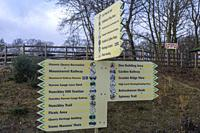 Sign showing areas of interest at the Mountsorrel & Rothley Community Heritage Centre.