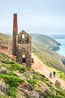 Towanroath Engine House, part of Wheal Coates Tin Mine on the Cornish coast near St Agnes, Cornwall, England. UK.