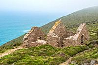 Wheal Coates Tin Mine on the Cornish coast near St Agnes, Cornwall, England. UK.