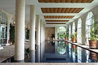 Pool of the spa of Finca Cortesin hotel in Málaga Costa del sol Andalusia Spain.
