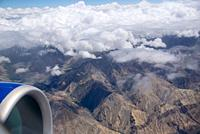 aerial view at Himalayas with clouds in Ladakh, India