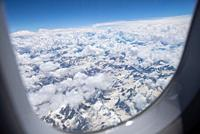 aerial view from Himalayas with snow at Ladakh, India
