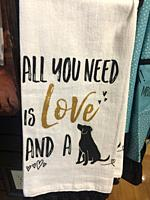 Message on a towel about love and companionship with a dog.