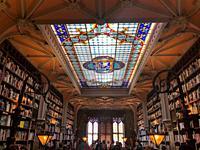 Interior of Lello Bookstore in Porto, Portugal.