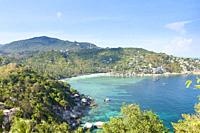 View of Haad Tien beach from the John Suwan viewpoint, Koh Tao, Thailand.