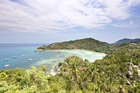 View of Ao Chalok Baan Kao as seen from the John Suwan viewpoint, Koh Tao, Thailand.