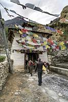 Noirthern entrance gate to Marpha, small village in Mustang district, Nepal.