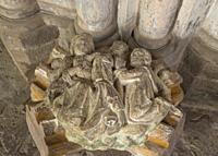 Romanesque roof boss Sculpture depicting an Abbot with the virgin Mary and Child, Dore Abbey Herefordshire UK. Feburary 2019.