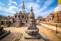 Sacred Gompa. Sculptures of Gods and Goddesses carved on the stone of Ancient Buddhist Temple and ancient ruins. Intricate Details.
