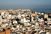 Almería, Andalucia, Spain, Europe. . A panoramic view of the city of Almería frome teh Alcazaba fortress.